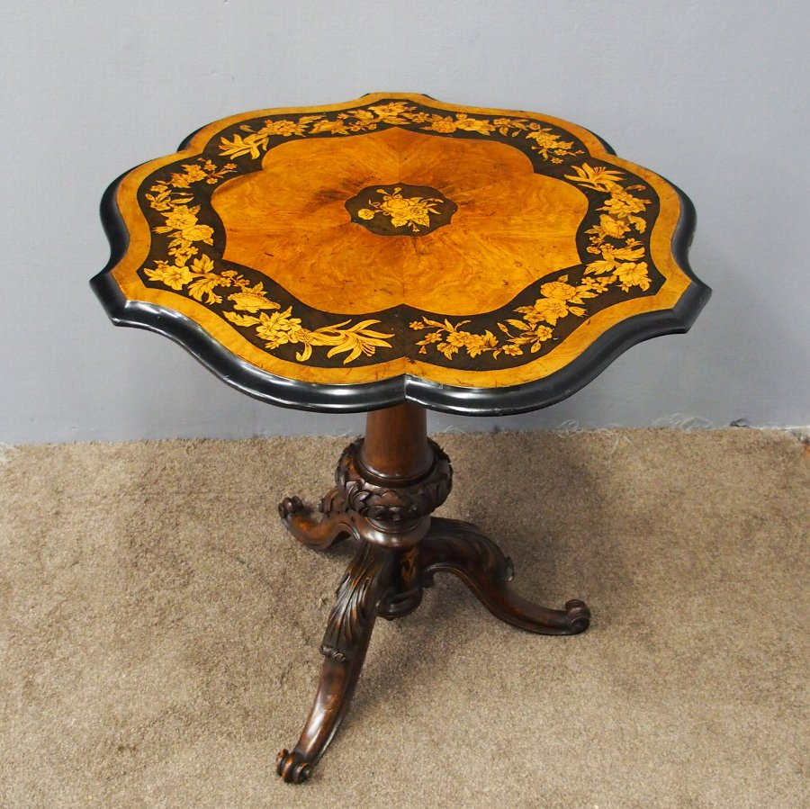 Mid Victorian Walnut and Marquetry Inlaid Table