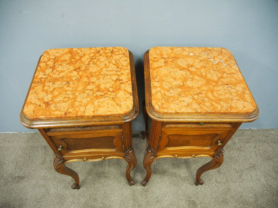 Antique Pair of French Oak Bedside Lockers