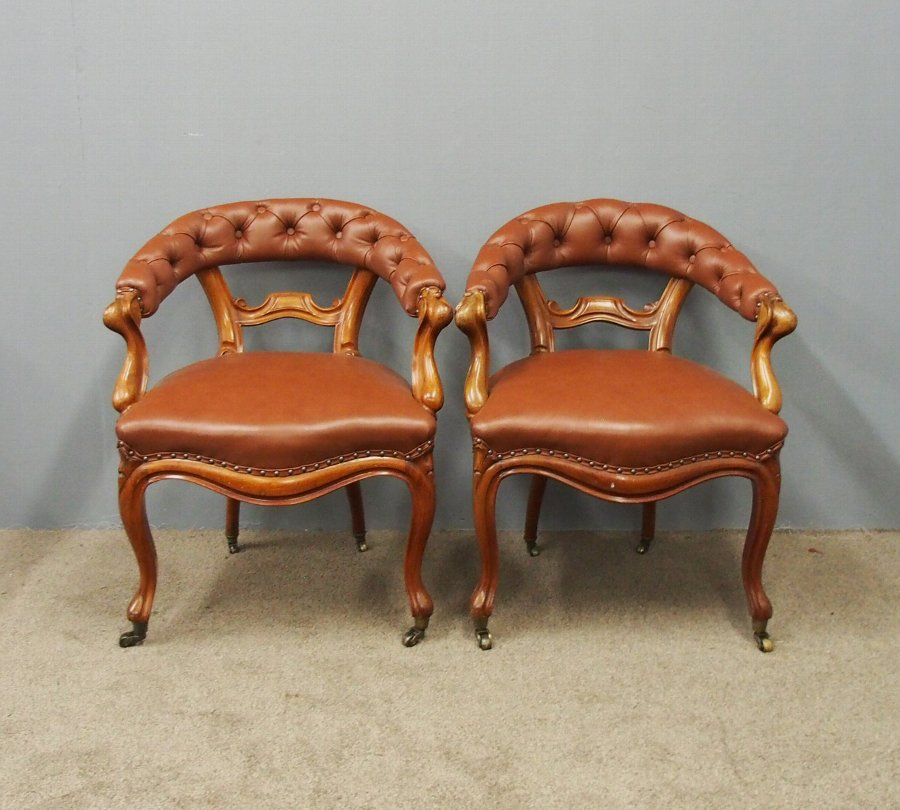 Pair of Mahogany and Brown Leather Club Chairs