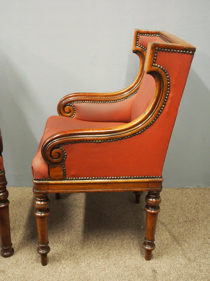 Antique Pair of Mahogany Library Chairs