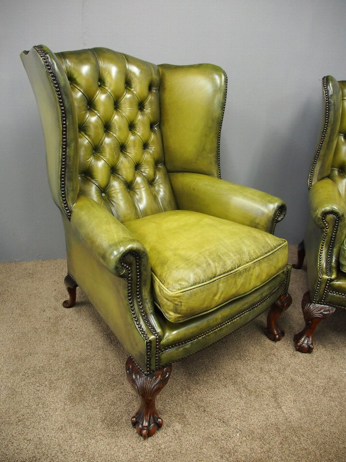 Wondrous Pair Of Georgian Style Green Leather Wing Chairs Camellatalisay Diy Chair Ideas Camellatalisaycom