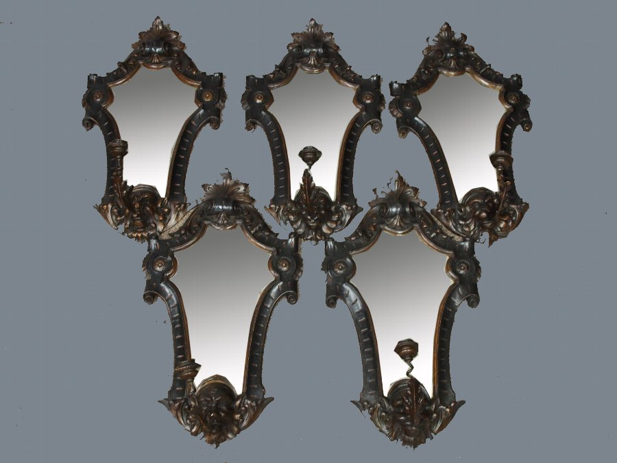 Set of Baroque Style Softwood Girandoles