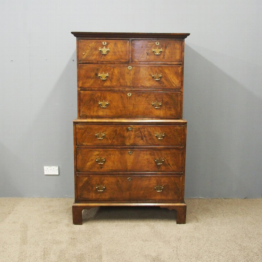 George II Figured Walnut Chest on Chest