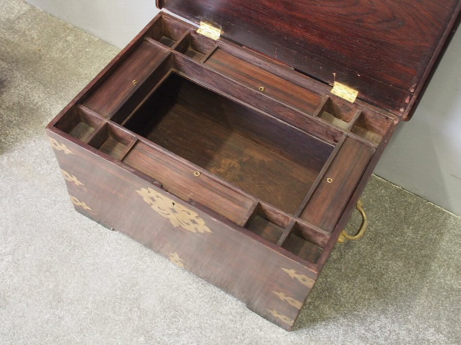 Antique Victorian Indian Rosewood Fitted Trunk