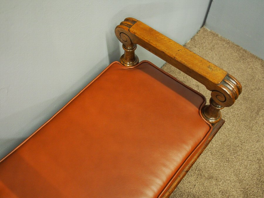 Antique Oak Window Seat with Leather Cushion