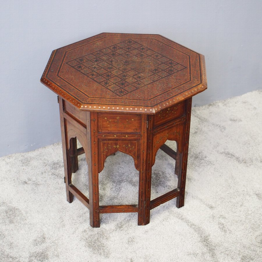 Indian Brass Inlaid Teak Games Table