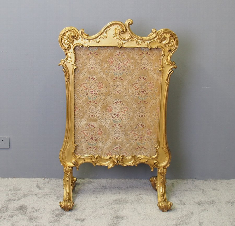 Chippendale Style Carved Giltwood and Gesso Screen
