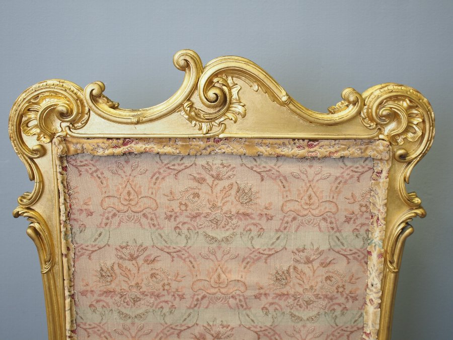 Antique Chippendale Style Carved Giltwood and Gesso Screen