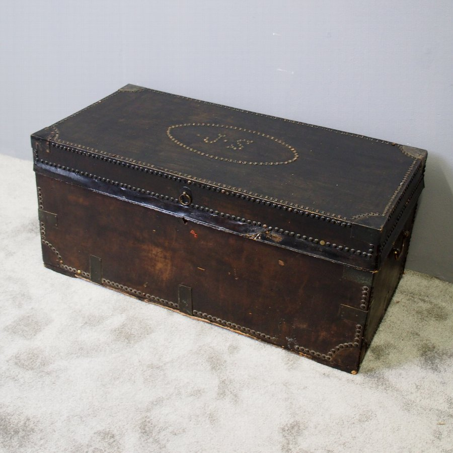 Leather Covered Camphor Wood Trunk