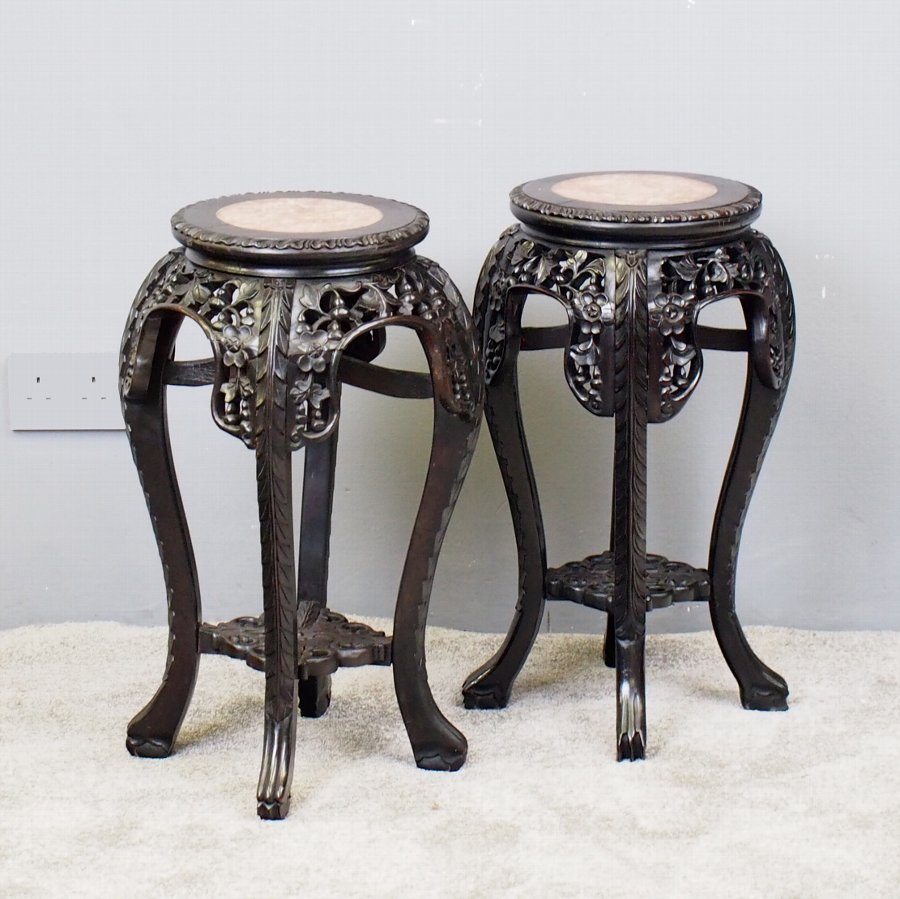 Pair of Neat Chinese Rosewood Plant Stands
