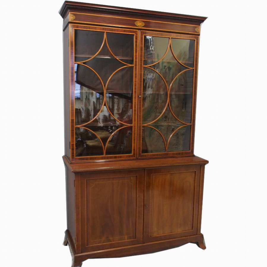 George III Style Inlaid Mahogany Cabinet Bookcase