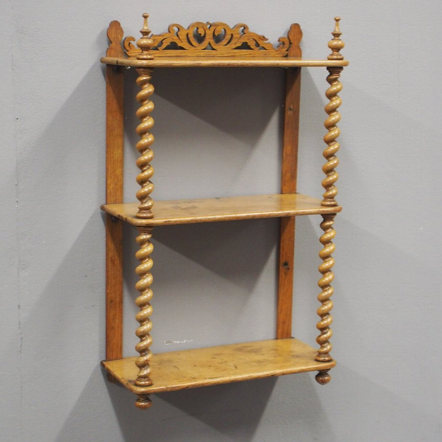 Oak 3 Tier Wall Shelf