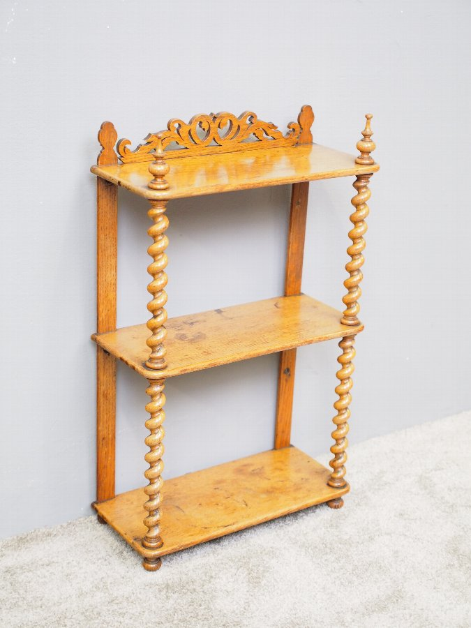 Antique  Oak 3 Tier Wall Shelf