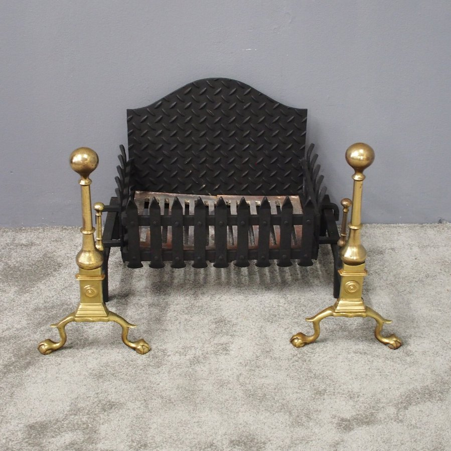 18th Century Style Cast and Forged Iron Fire Basket