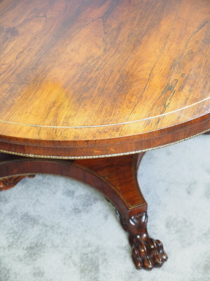 Antique Regency Brass Inlaid Rosewood Centre Table