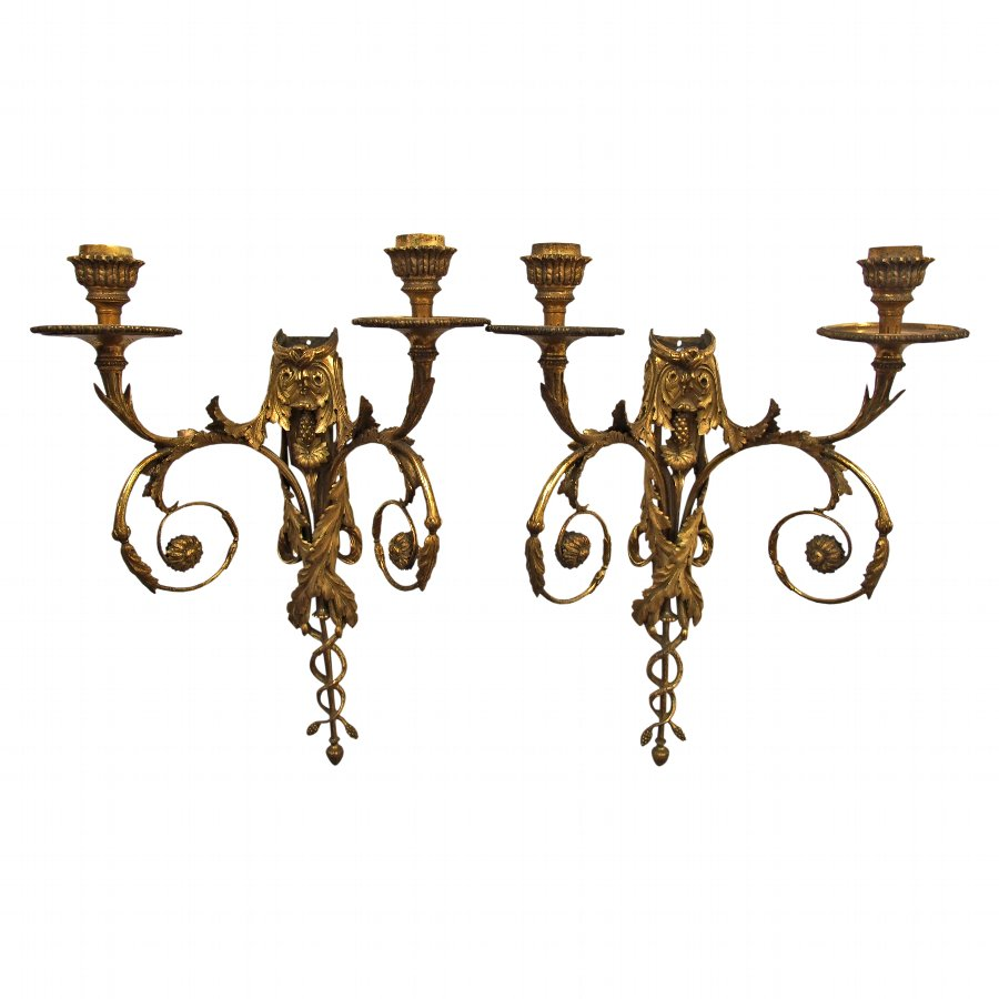 Pair of Neoclassical Gilt Bronze Sconces