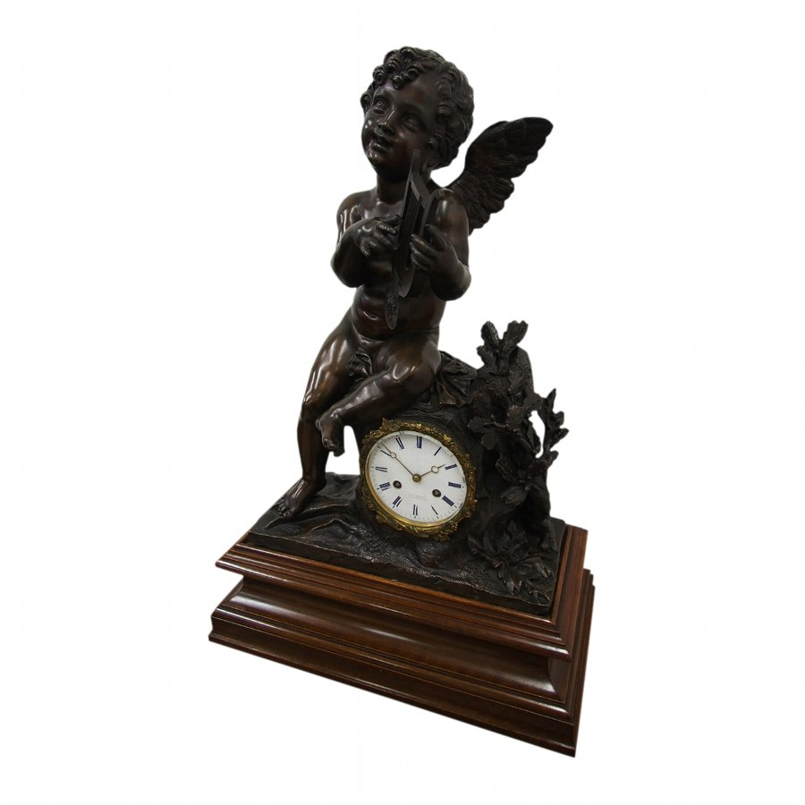 French Bronze Mantel Clock