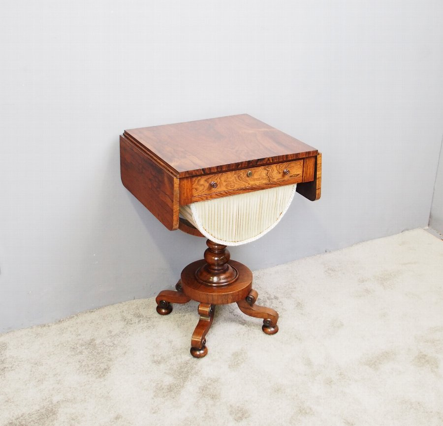 Victorian Rosewood Dropleaf Work Table