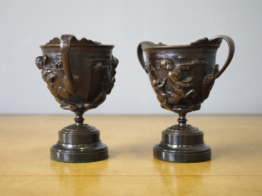 Antique Pair of Bronze Urns
