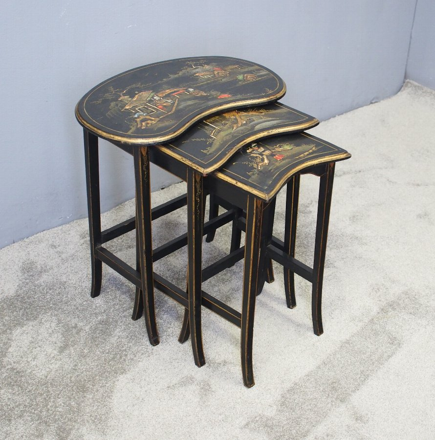 Nest of 3 Japanned Kidney Shaped Tables