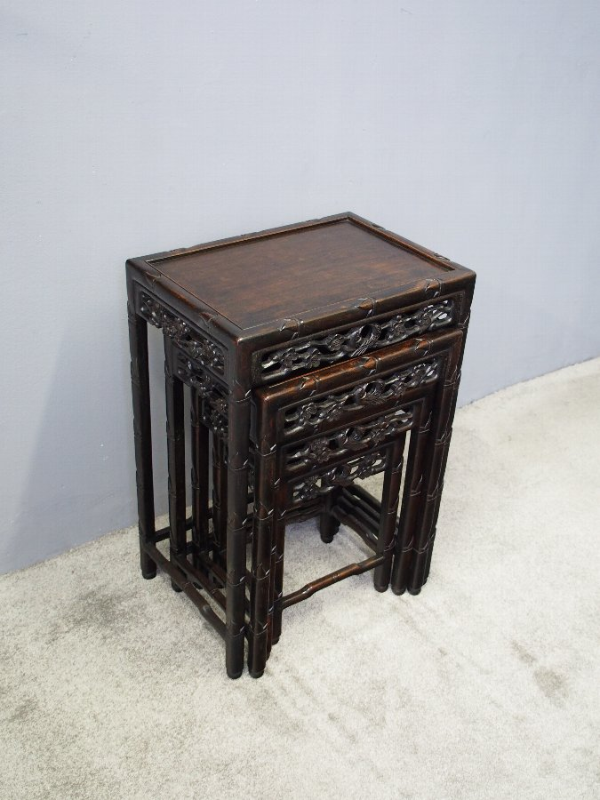 Antique Nest of 4 Chinese Rosewood Tables