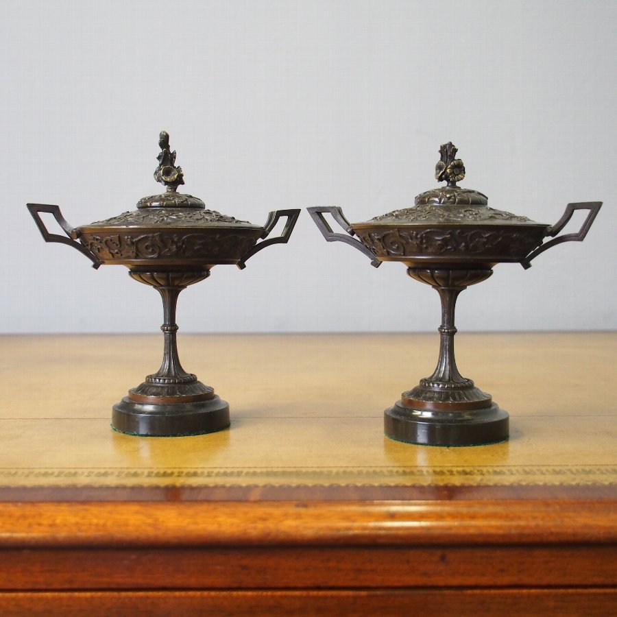 Pair of Cast Brass Lidded Tazzae or Urns