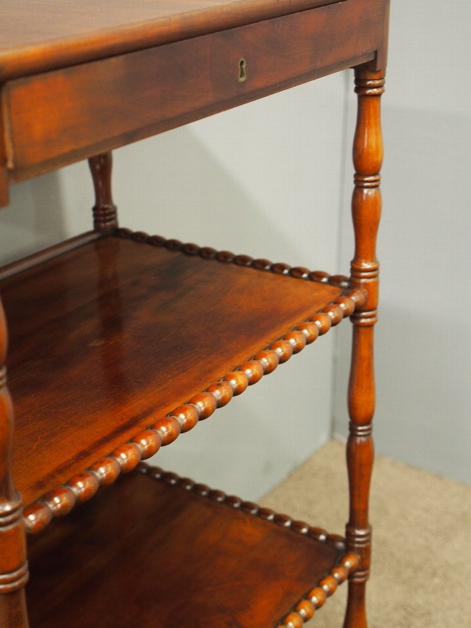 Antique Victorian Biedermeier Mahogany 4 Tier Whatnot