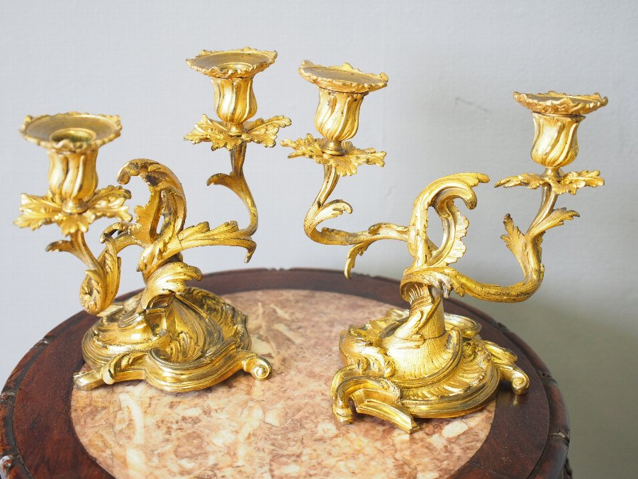 Antique Pair of Cast Brass and Gilded Candelabra