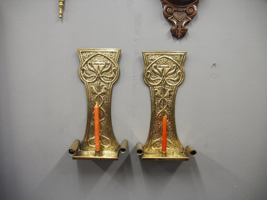 Antique Pair of Art Nouveau Brass Wall Sconces