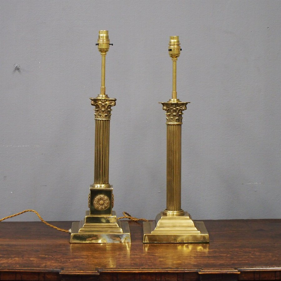 Set of 2 Victorian Brass Corinthian Lamps
