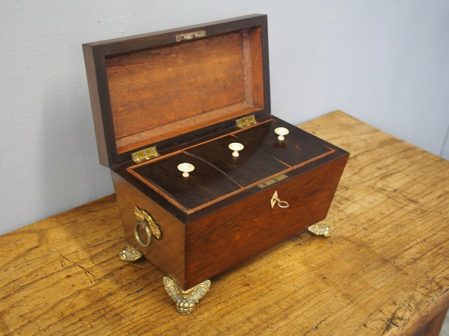 Antique George IV Rosewood Tea Caddy