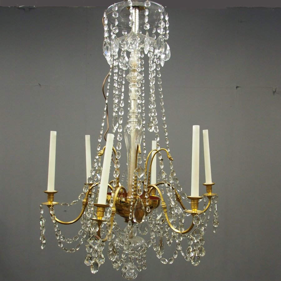 Large Gilt Brass and Glass Chandelier
