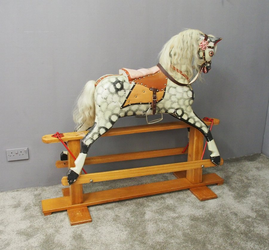 Painted and Carved Wood Rocking Horse