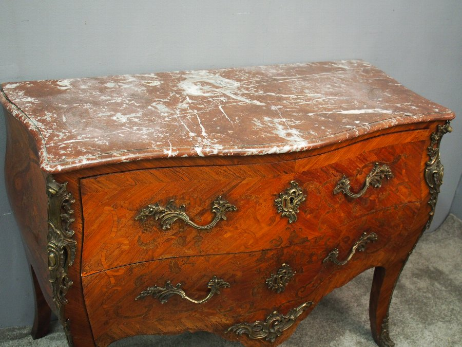 Antique French Marquetry Kingwood Commode