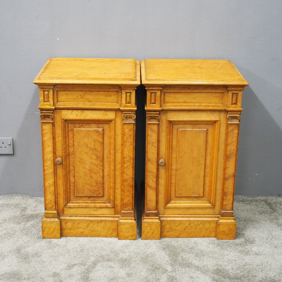 Pair of Birds Eye Maple Victorian Pedestals or Lockers