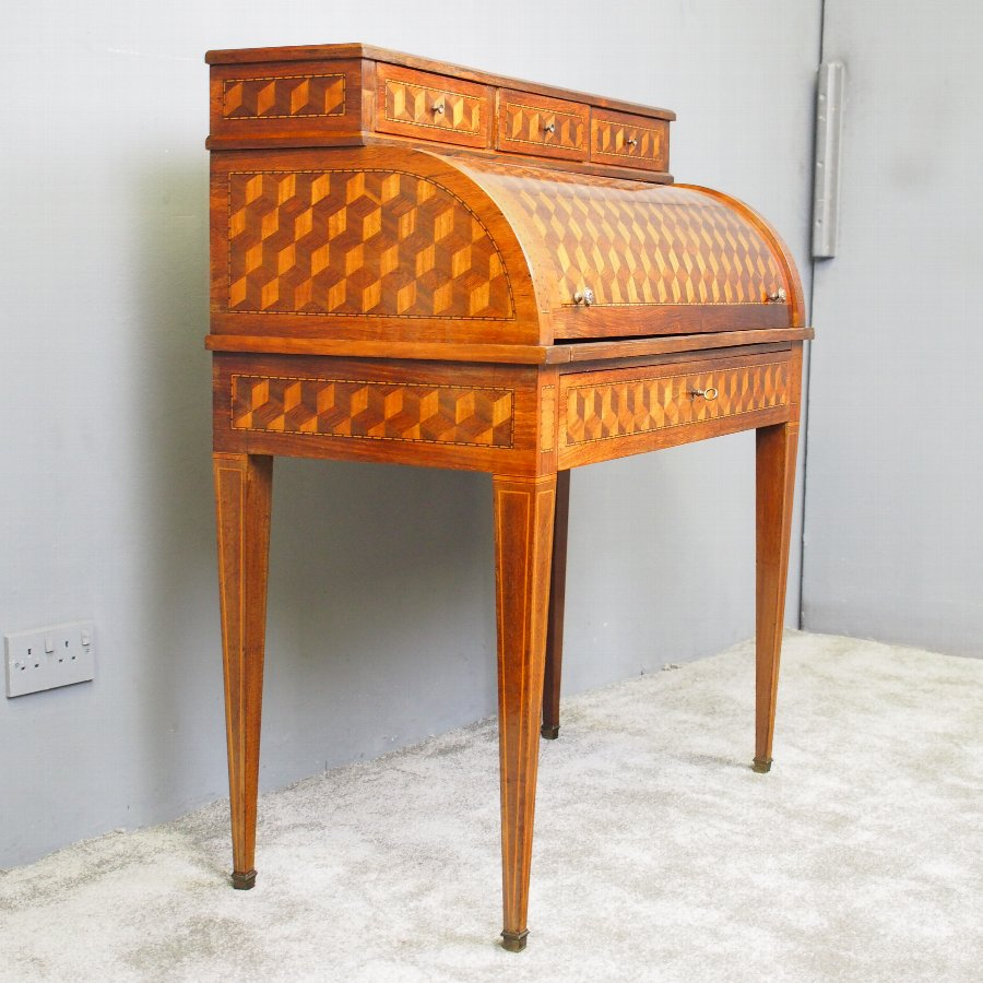 French Kingwood and Rosewood Parquetry Cylinder Desk