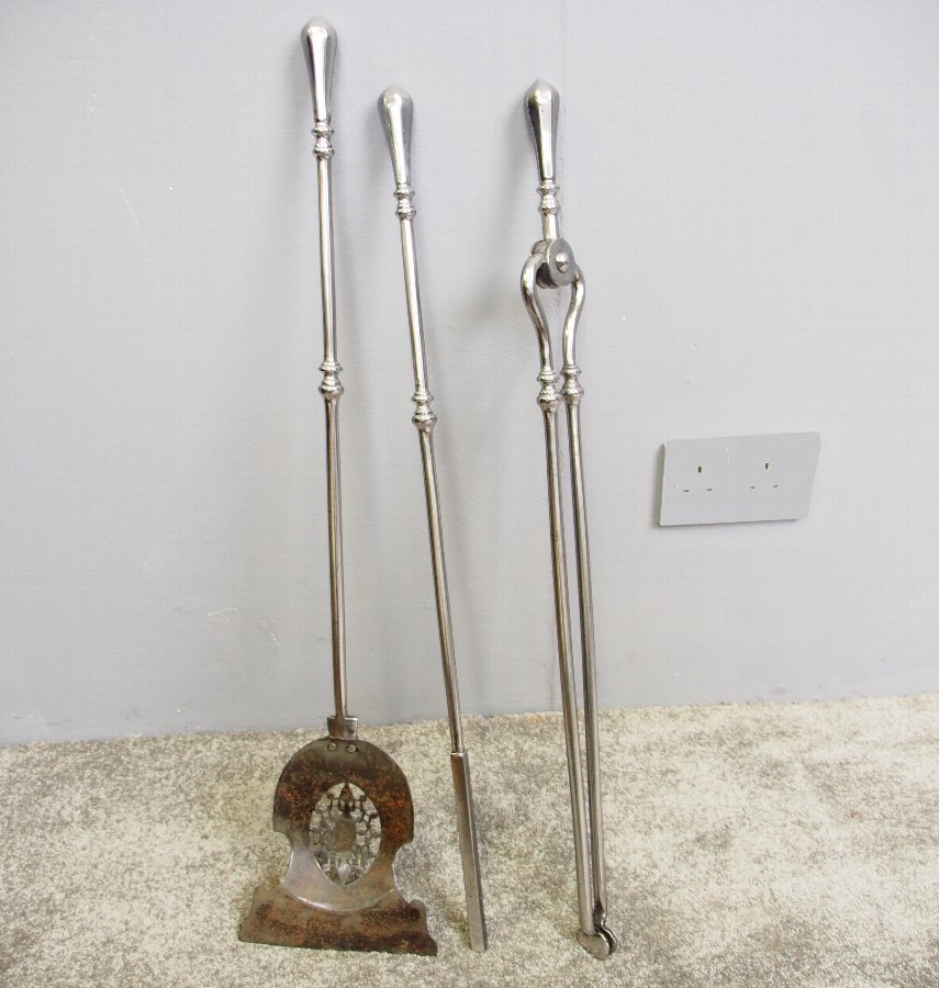 Set of 3 George III Polished Steel Fire Tools