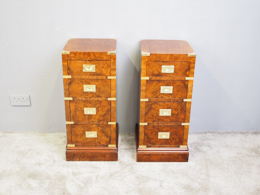 Antique Pair of Campaign Style Burr Walnut Bedsides
