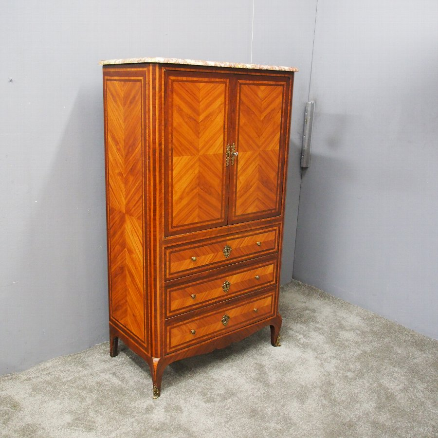 French Marble Top Kingwood Cabinet