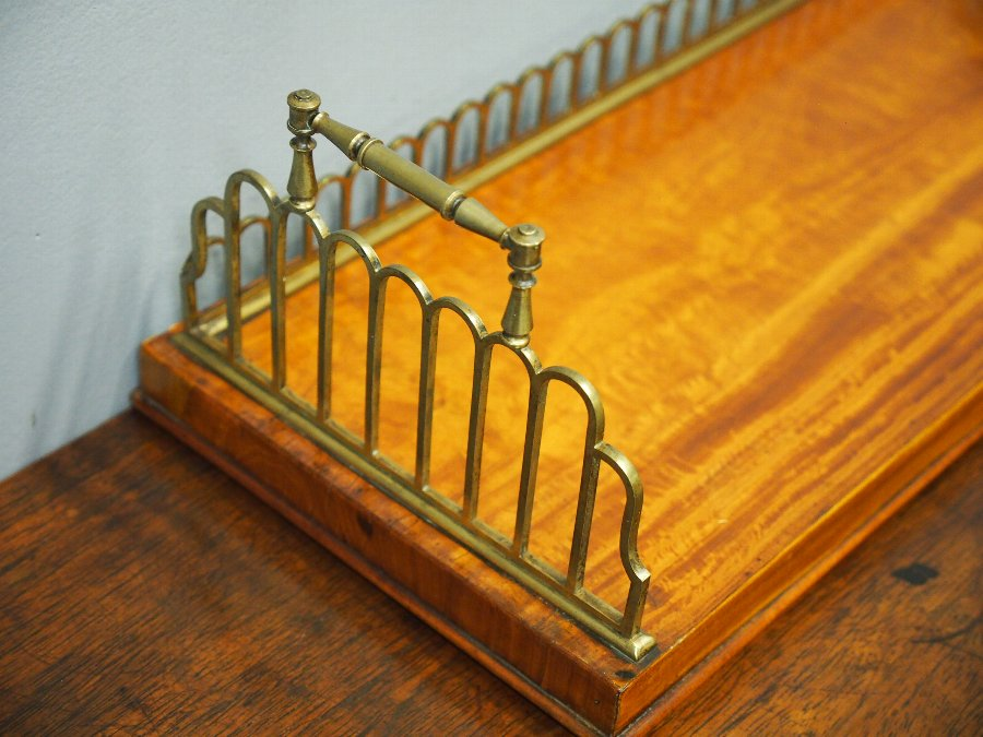 Antique William IV Satinwood and Brass Book Trough