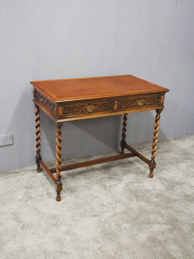 Antique Jacobean Revival Oak Writing Table