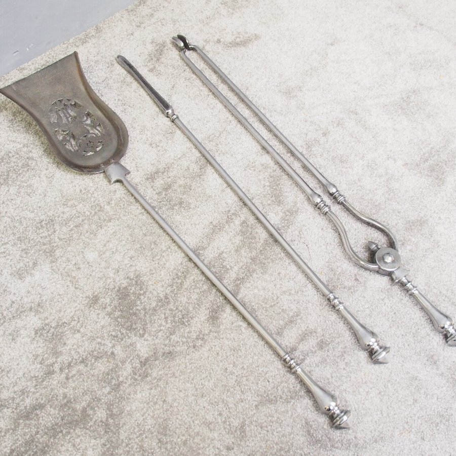 Set of Polished Steel Fire Tools