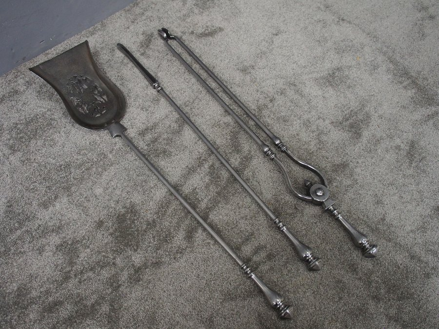 Antique Set of Polished Steel Fire Tools