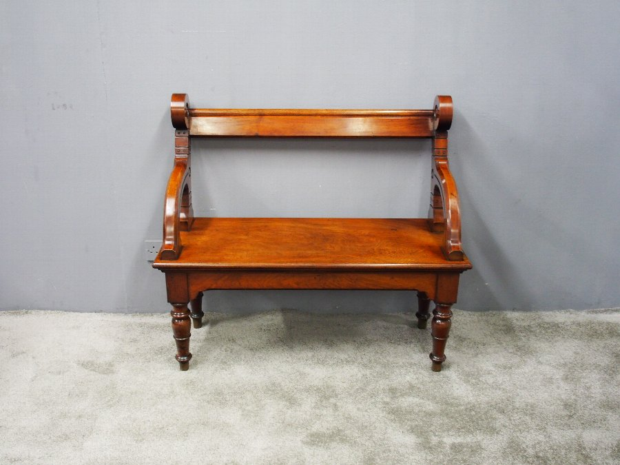 Antique Arts and Crafts Mahogany Hall Bench