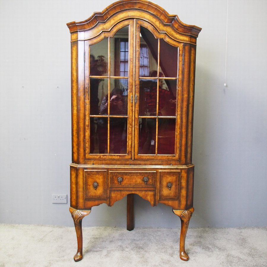 George I Style Walnut Corner Cupboard