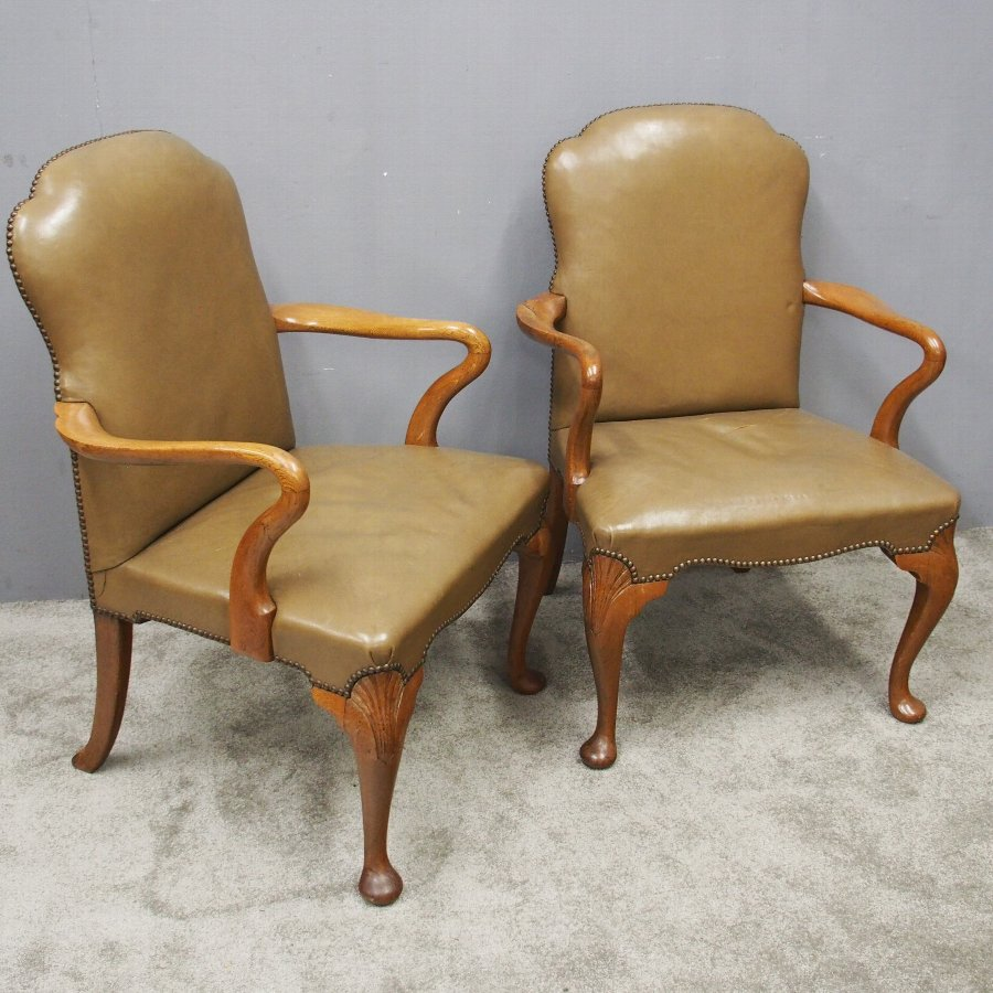 George II Style Leather Armchairs