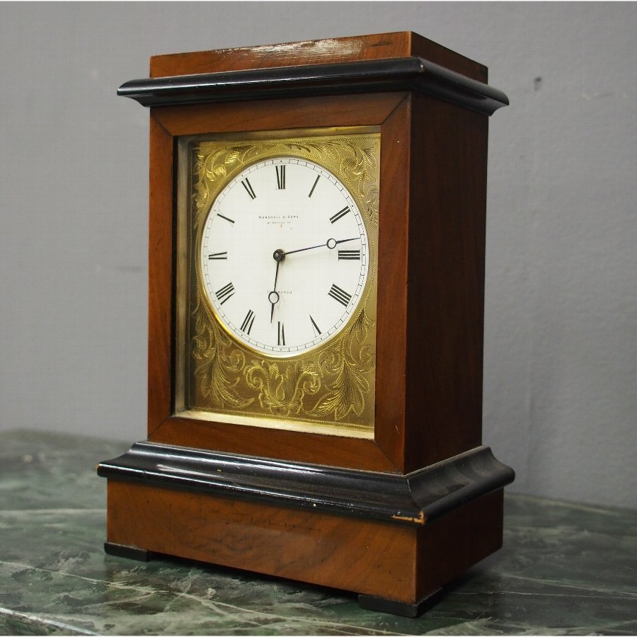 Walnut and Ebonized Clock from Marshall and Sons, Edinburgh