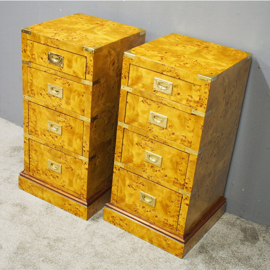 Pair of Satin Birch Military Style Bedsides or Chests