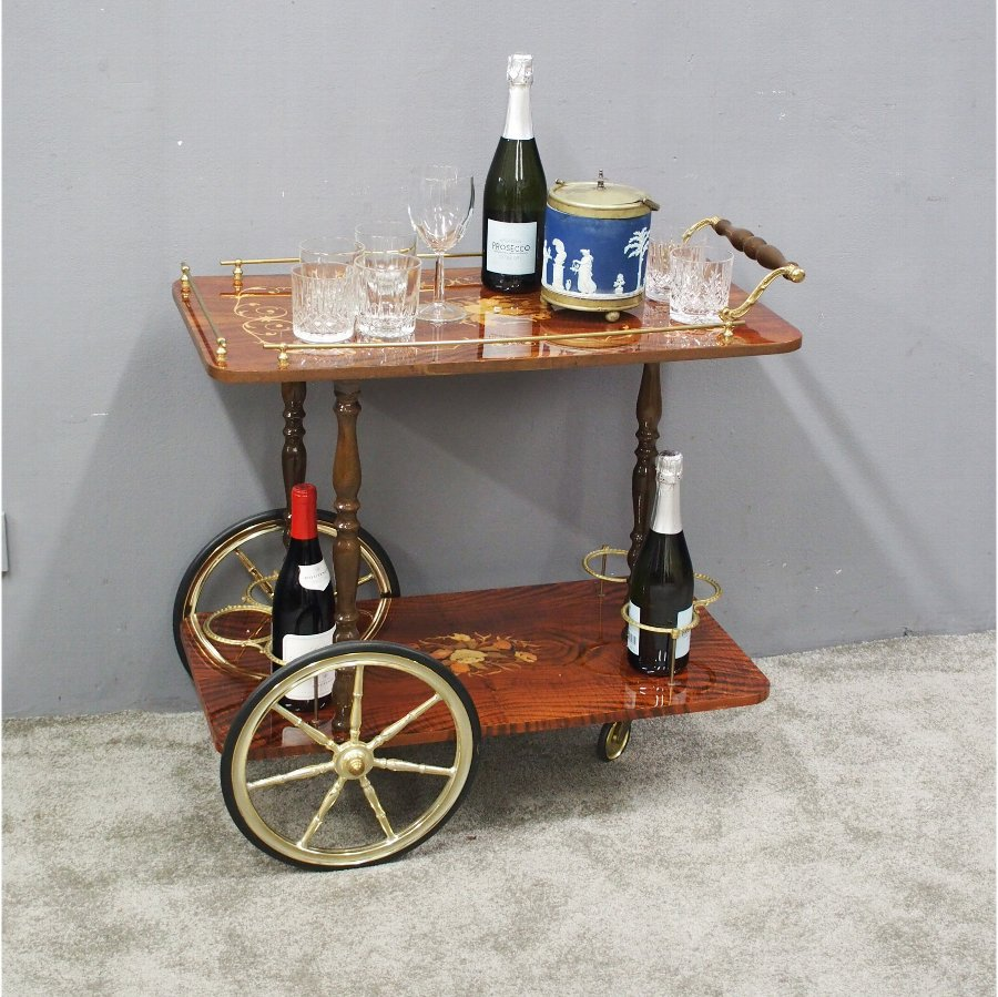 Walnut Inlaid 2 Tier Trolley or Drinks Cart