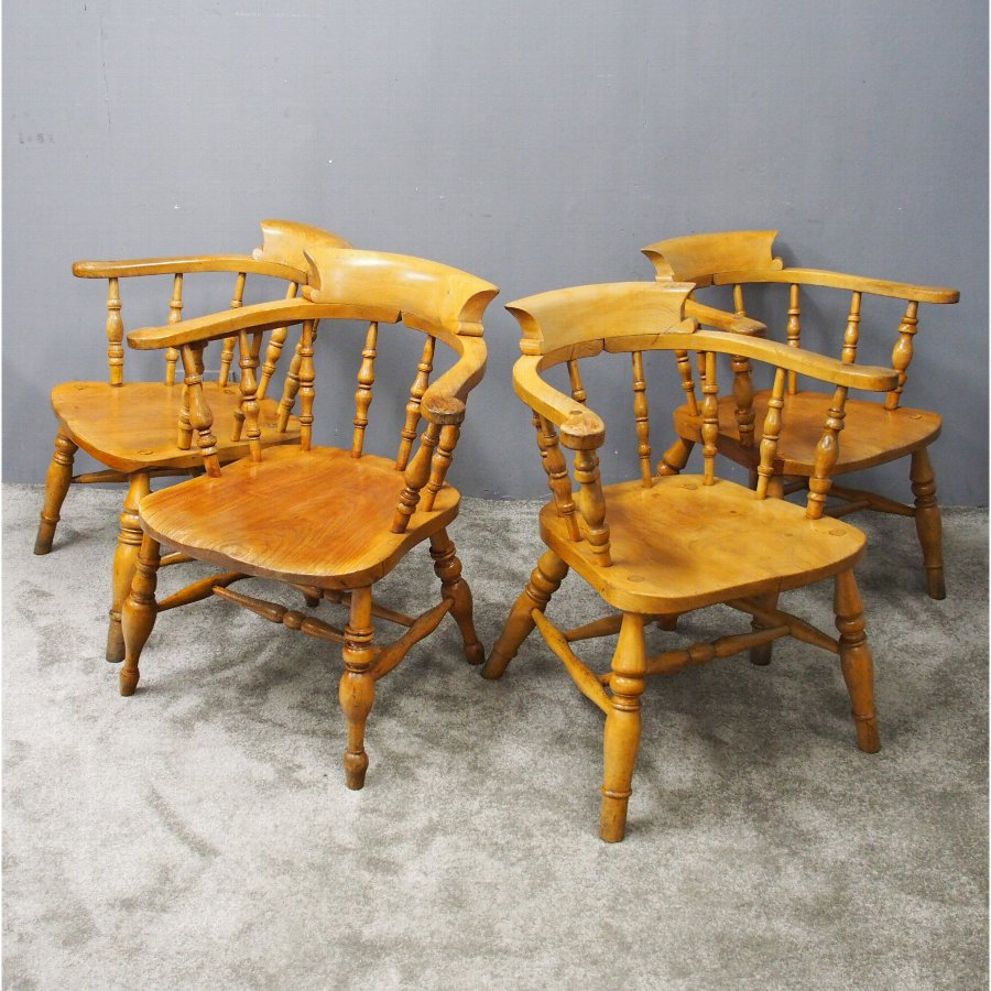 Set of 4 Beech and Elm Captains Chairs